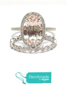 Oval Morganite Engagement Ring Sets Pave Diamond Wedding 14K White Gold 8x12mm Full Eternity Band from the Lord of Gem Rings https://www.amazon.com/dp/B01HDPY2YE/ref=hnd_sw_r_pi_dp_xrCAxbN1NG9MV #handmadeatamazon