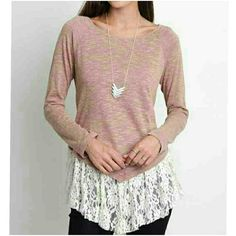 ❤BEAUTIFUL LACE TRIM TOP❤ Beautiful long sleeve hi-lo top in blush. Lace trim 65%Cotton/35% Polyester Available in S,M,L PLEASE COMMENT SIZE PRICE IS FINAL 4 Bidden Boutique Tops