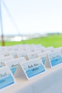 These watercolor placecards are beautiful! Escort cards, watercolor wedding ideas