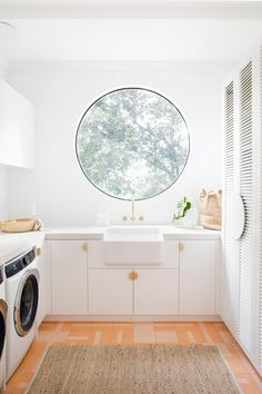 our favourite window in the house! ⚪💕 Would you do a circle window? 🤔 And for those of you wondering about ventilation . there's a door to outside, an exhaust fan and double louvre doors into the hallway ✨ Laundry Room Design, Laundry In Bathroom, Laundry Rooms, Three Birds Renovations, Laundry Room Inspiration, Pink Tiles, Home Renovation, Home Goods, Sweet Home