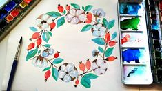 Watercolor Winter Floral Wreath Painting - DIY Wall Art Ideas \ Relaxing Drawing How to paint floral winter wreath with berries, leaves and cotton flowers. Wreath Watercolor, Easy Watercolor, Watercolor Flowers, Simple Wall Art, Diy Wall Art, Plant Art, Diy Arts And Crafts, Painting Tutorials, Watercolor Illustration