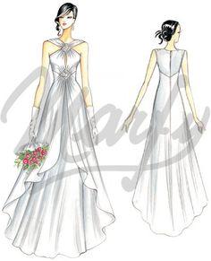 patrón vestido de novia  S949