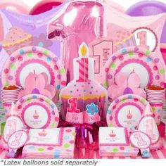 $67.99 Deluxe Cupcake 1st Birthday Girl Birthday Box - Cupcake 1st Birthday Girl Party Pack