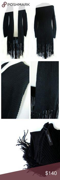 $248 Acrobat Chunky Black Fringe Cardigan Sweater NWTs Acrobat Sweaters Cardigans