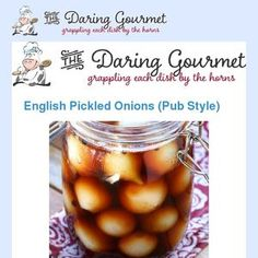 English Pickled Onions (Pub Style) Right up there with fish & chips, mushy peas, pork pies and Yorkshire pudding, English Pickled Onions are pract. Yorkshire Recipes, African Stew, Mushy Peas, British Pub, Pickled Onions, Fish And Chips, Pickles, Vegetables, Food