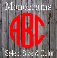 """Circle Monogram 3"""" - 18"""" Vinyl Decal For Cars, Walls, Nursery, Laptops, Phones and More - Select Color and Size by WrenGifts on Etsy"""