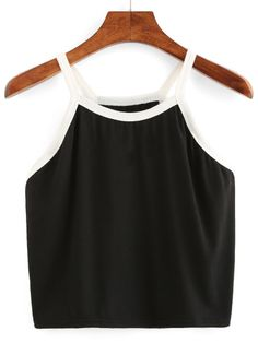 78515bd0fdb1e4 SHEIN offers Contrast Trim Crop Cami Top   more to fit your fashionable  needs.