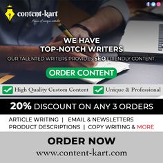 Our Talented Writers Provides SEO Friendly Content ✍🏻  👉🏻 𝐒𝐢𝐠𝐧 𝐔𝐩 𝐍𝐨𝐰: www.content-kart.com  ✅ Article Writing ✅ Email & Newsletters ✅ Product Descriptions ✅ Copy Writing & More  #Affiliate #AffiliateMarketing #JoinNow #ContentWriters #DigitalMarketing #WebsiteContents #OfferAlert #Offers #EarnMoney #Contents #Bloggers #BloggersLife #SEO #SocialMediaMarketing #ContentIsKing Affiliate Marketing, Social Media Marketing, Digital Marketing, Writing About Yourself, Email Newsletters, Article Writing, Writing Services, Copywriting, Earn Money