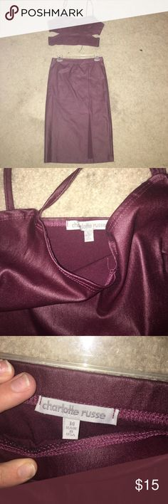 2 piece outfit charlotte Russo Maroon 2 piece skirt and top top is a L and skirt is a M Charlotte Russe Skirts Pencil
