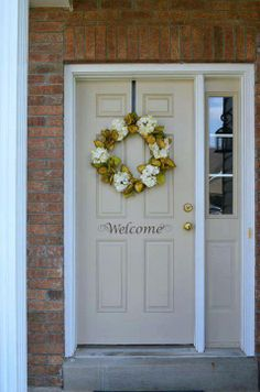 Gorgeous front door! #vinyl #door #decor #decal #welcome