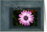 20th Anniversary Party Invitation, Pink Flower with Green and Blue Background Card by Greeting Card Universe. $3.00. 5 x 7 inch premium quality folded paper greeting card. Greeting Card Universe offers the largest selection of Wedding Anniversary invitations on the web. We will mail the invitations to you or direct to your loved ones. Send a Wedding Anniversary invitation from Greeting Card Universe this year. This paper card includes the following themes: twenty, twentie...