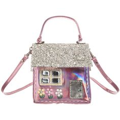 Girls adorable house shaped shoulder bag by Simonetta Mini. Made in a shiny iridescent metallic pink, with a door, flowers and window decorated with diamanté gems and beads. The silver glitter embellished roof forms the flap over top, which fastens with a metallic popper. It has one compartment, a carry handle and a detachable shoulder strap. A gorgeous bag for carrying smaller items. Measurements: Height 15cm x Width 14cm x Depth 3cm (6