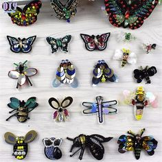 Handmade Bee Butterfly Sequins Sew Iron On Patches Colorful Beaded Embroidered Cloth Applique Badge Fabric Apparel Sewing Crafts