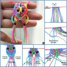 How to DIY Rainbow Macrame Owls – 6 Tutorials – craft ideas Diy Crafts Jewelry, Bracelet Crafts, Yarn Crafts, Owl Bracelet, Macrame Owl, Macrame Jewelry, Macrame Bracelets, Owl Patterns, Macrame Patterns
