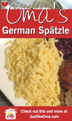 A German Spätzle recipe can be tricky to make. Here's Oma's easy version of this traditional favorite. Serve this as a 'Mac & Cheese' or covered with caramelized onions :) food recipes ❤️ Oma's German Spätzle Recipe made Just like Oma Best German Food, The Good German, Spetzel Recipe, Pasta Dishes, Food Dishes, German Noodles, German Spaetzle, Traditional German Food, Macedonian Food
