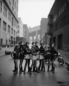 Peter Lindbergh Biker Girls!  Cindy Crawford, Tatjana Patitz, Helena Christensen, Linda Evangelista, Claudia Schiffer, Naomi Campbell, Karen Mulder, Stephanie Seymour in Gianni Versace (Italian, 1946-1997), Autumn/Winter 1991-1992, Vogue, September 1991