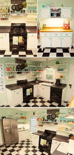 Open shelving (including over the stove fan!), checkerboard floors, white cabinets, butcherblock