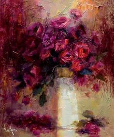 Adorable Floral Oil Paintings By Nora Kasten - Fine Art and You - Painting Arte Floral, Abstract Flowers, Abstract Art, Art Flowers, Abstract Landscape, Still Life Art, Artist Painting, Beautiful Paintings, Art Oil