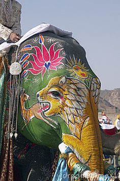 decorated elephant for colour festival