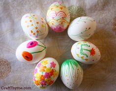 Easter is just around the corner and I wanted to make some pretty floral patterned Easter Eggs. These will be part of my Easter table setting (coming next week). I blew out some eggs a couple of weeks ago and they have just been sitting… Waiting… for divine Eggspiration. Got a wild hair and grabbed some permanent markers. Voila! I did these all freehand while trying to throw a ball to McClain and keep Conlan from exercising his new found ability to crawl… off the porch. Imagine if I…