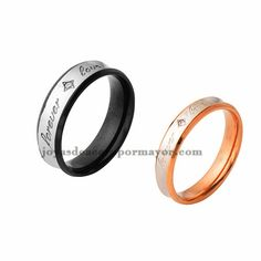 stainless steel engagement band ring in black and rose gold color for couple on sale-SSRGG971553
