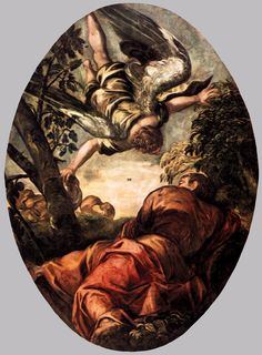 Tintoretto ~ Elia gevoed door een engel ~ 1577-1578 ~ Olieverf op doek ~ 370 x 265 cm. ~ Scuola Grande di San Rocco, Venetië