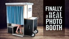 A mix of retro and modern.  back curtain slides to allow room for more people. A real photo booth.