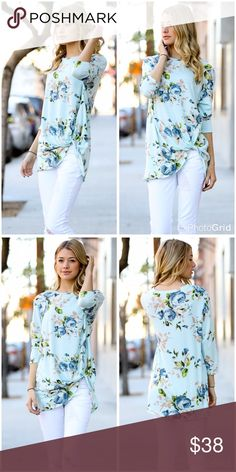 Mint with blue roses tie front detail tunic! I am so obsessed with this one - beautiful tunic length floral 3 qtr sleeve top with lovely rose bouquet Tops Tunics