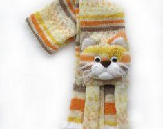 Knitted scarf de chat les enfants tricotés par NPhandmadeCreations