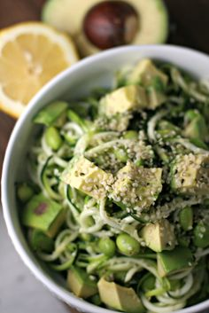 GO GREEN! This bowl is jam packed with green goodness. This recipe uses zucchini noodles as the pasta and includes edamame and avocado to make it a well rounded meal. And the best part is that it takes about 10 minutes to make! Now - who doesn't have time for that?? #PassTheGreenPlate