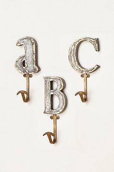 """I so need these for my keys and doggie's leash in the letters """"VIP"""" for my blog :) Marquee Letter Hook  #anthropologie"""