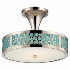 "Semi-flush mount with a raindrop motif and polished nickel finish.    Product: Semi-flush mountConstruction Material: Metal and glassColor: Polished nickel, blue, and white Accommodates: (2) LED bulbs - includedDimensions: 10.875"" H x 15"" Diameter"