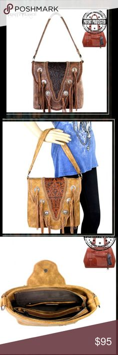 Tooled Concealed Handgun Handbag in Coffee only Trinity Ranch by Montana West partial leather handbag Vintage tooled pattern on genuine leather on flap magnetic closure Braided & whipstitch leather details antique silver studs Accented w/antique silver berry conchos leather tassel Top zipper enclosure Zippered pocket to conceal the handgun (9.5 x 5.5) Inside single compartment divided by medium zippered pocket Interior zippered pocket & 2 open pockets open pocket on the back Metal feet on…