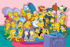 Simpsons Sofa Cast - Official Poster. Official Merchandise. Size: 61cm x 91.5cm. FREE SHIPPING