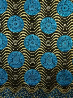 Yellow Waves. Blue. African-inspired. #Print #AfricanPrints #Textile #Fashion #Design #AfricanFashion @Ethical Fashion Initiative
