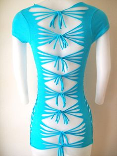 10% OFF  SEE SITE FOR DETAILS!!   Junior / Womens Turquoise Cut Shirt  Sexy Cuts by LasciviousGrace, $48.00