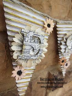 Twelve Stones Scrapbooking: Blessed Pennant Banner With Gina's Designs Paper Banners, Pennant Banners, Paper Cards, Paper Bunting, Diy Banner, Banner Ideas, Bunting Garland, Bunting Flags, Vinyl Crafts