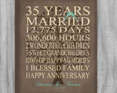 35 Year Anniversary Gift Faux Burlap Rustic by PrintsbyChristine 35th Wedding Anniversary Gift, Year Anniversary Gifts, Anniversary Parties, Happy Anniversary, Parents Anniversary, Anniversary Ideas, 35e Anniversaire, Diy Gifts, Best Gifts