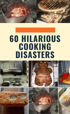 """Cooking can't be that hard,"" you think. What's a couple of fried eggs? Who can mess up waffles? Pizza seems simple! Well, think again.  60 #hilarious #cooking #disasters"