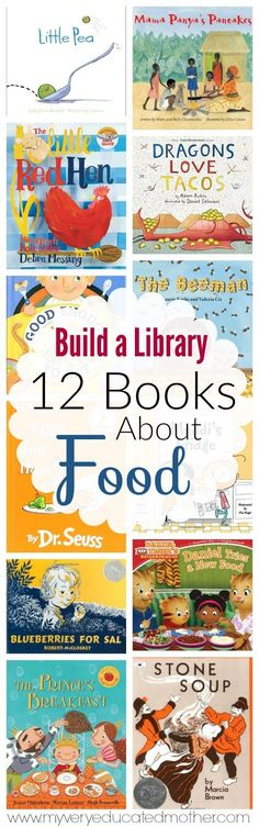 A dozen books all about food. Picky eaters, making food, growing food, eating food, and sharing food. It's all covered! via myveryeducatedmother.com