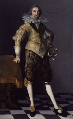 """James Hay, Earl of Carlisle was knighted and taken into favor by James VI of Scotland, brought into England in treated as a """"prime favorite"""" -Elizabethan man wearing venetions, a ruffled neck colar, and rolled selves on his doublet. Carlisle, Historical Costume, Historical Clothing, Historical Dress, House Of Stuart, 17th Century Fashion, Doublet, British History, Tudor History"""