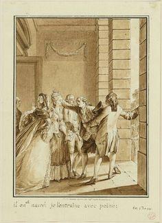 Il est navré, je l'entraîne avec peine, 1778 Jean-Michel Moreau, dit le jeune. Illustration pour l'Emile dans Oeuvres de Jean-Jacques Rousseau