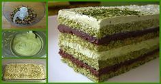 Matcha Opera Cake , with layers of green tea genoise, chocolate ganache, and green tea buttercream. I believe Sadaharu Aoki& version also . Sweet Recipes, Cake Recipes, Dessert Recipes, Opera Cake, Pistachio Cake, Torte Cake, Asian Desserts, Something Sweet, Sweet Bread