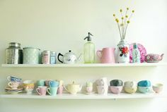 Sweet and simple way to display really pretty vintage teacups, teapots, vases, tins, etc.