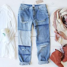 A fall favorite! These perfectly distressed jeans add a laid-back vibe to your wardrobe. Designed with a soft vintage wash, stitch & patch detailing, 5 pocket styling, and a cozy slouchy boyfriend fit Jean Outfits, Fall Outfits, Casual Outfits, Cute Outfits, Fashion Outfits, Denim Fashion, Fashion Ideas, Boyfriend Jeans, Mom Jeans