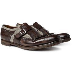 Church's  Shangai fringed Leather and Linen Loafers