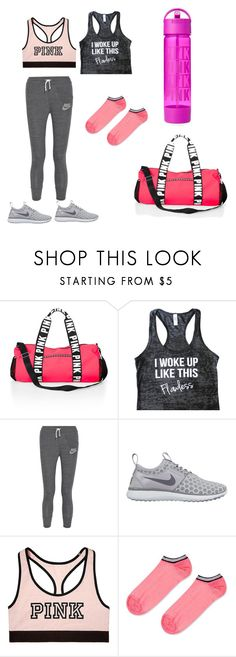 """""""Gymming"""" by r-arora ❤ liked on Polyvore featuring NIKE, Victoria's Secret, Topshop, women's clothing, women, female, woman, misses and juniors"""