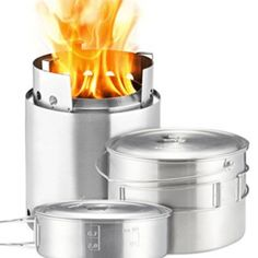 Solo Stove Campfire 2 Pot Set Combo 4 Person Wood Burning Camping Stove Outdoor Kitchen Kit for Backpacking Camping Survival Burns Twigs NO Batteries or Liquid Fuel Gas Canister Required * Be sure to check out this awesome product.
