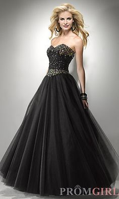 Long Sweetheart Ball Gown at PromGirl.com