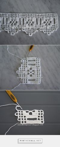 Filet crochet lace edging with flowers and points. The large beading allows for insertion of a wide ribbon and the ribbon's colour will show behind the flower. Nice!!